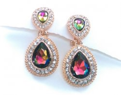 Petite Gold Drop Clip On Crystal Earrings with Pave