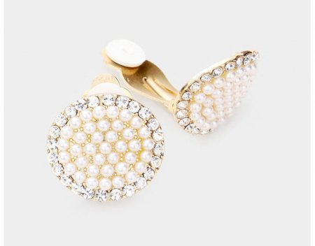 Simply Gorgeous Pearl Clip On Earrings Gold with Crystals