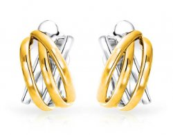 Clip On Earrings Half Hoop Combination of Gold and Silver