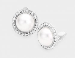 Fabulous Silver Clip On Pearl Earrings with Rhinestone Pave