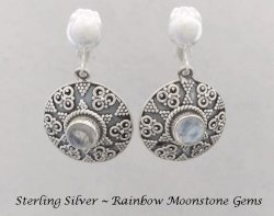 Sterling Silver Clip On Earrings with Rainbow Moonstone Gems