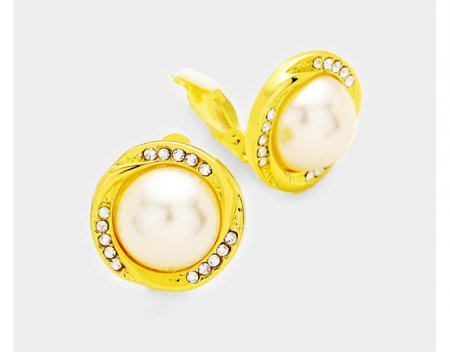 Pearl Clip On Earrings Gold with Dazzling Crystals