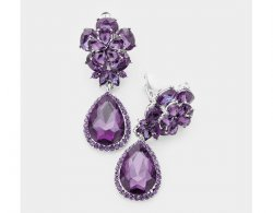 Dangle Clip On Earrings with Faux Amethyst Purple Crystals