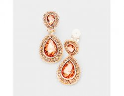 Rose Gold Clip On Earrings with Peach Crystals - Dangle Earring