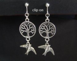 Fashion Clip On Earrings Tree of Life with Bird, Tibetan Silver