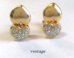 Vintage Gold Clip On Earrings Petite Size with Diamante Crystals