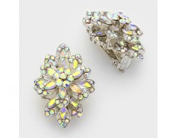 Fabulous Crystal Clip On Earrings, 3 Layer Flower Design