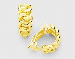 Gold Half Hoop Clip On Earrings in Link Chain Design