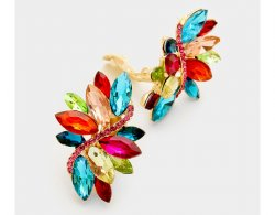 Large Clip On Crystal Earrings, Multi-coloured Marquise Crystals
