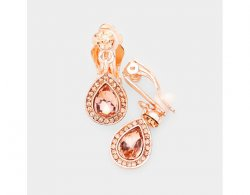 Petite Rose Gold Clip On Earrings with Peach Crystals