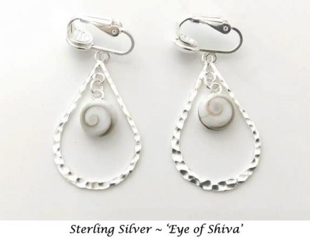 Sterling Silver Clip On Earrings with Eye of Shiva | Dazzlers