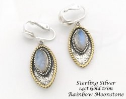 Clip On Earrings, Sterling Silver with Rainbow Moonstone Gems