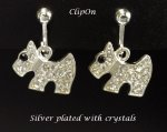 Fashion Clip On Earrings Silver Plated Diamante Crystals Dog