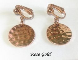 Rose Gold Clip On Earrings Dangle Style Hammered Finish