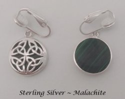 Petite Clip-on Earrings, Sterling Silver with Malachite, Celtic