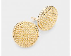 Large 30mm Textured Finish Gold Clip On Earrings Round Discs