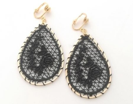 Black Embroidered Dangle Clip On Earrings, Gold, by Dazzlers