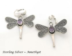 Dragonfly Clip-on Earrings with Amethyst Gemstones, Dazzlers