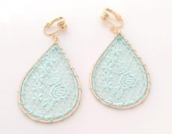Large Gold Drop Clip On Earrings Aqua Embroidered | Dazzlers