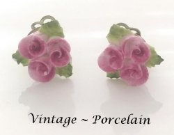 Petite Porcelain Flowers Authentic Vintage Clip On Earrings
