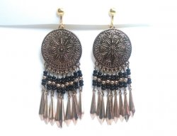 Aztec Design Clip On Gold Earrings with Dangling Spears