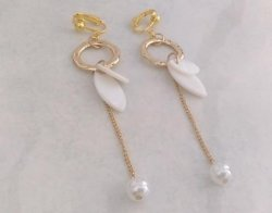 Gold Clip On Earrings, Long Drop with Shells, Pearls | Dazzlers