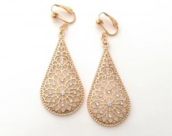 Gold Crystal Clip On Drop Earrings, Long Teardrop by Dazzlers