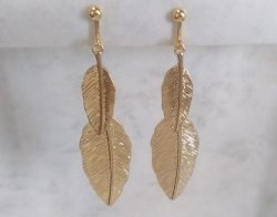 Clip On Earrings, Gold Clip On Earrings, Feathers Design