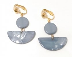 Clip On Fashion Earrings Blue/Grey Acrylic with Gold Clips