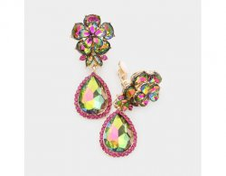 Gorgeous Dangle Crystal Clip On Earrings, AB Crystals