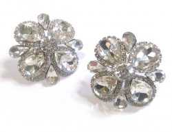 Large Clear Crystal Clip On Earrings Flower Design by Dazzlers