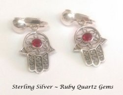 Clip On Sterling Silver Earrings Hand of God with Garnet Gems