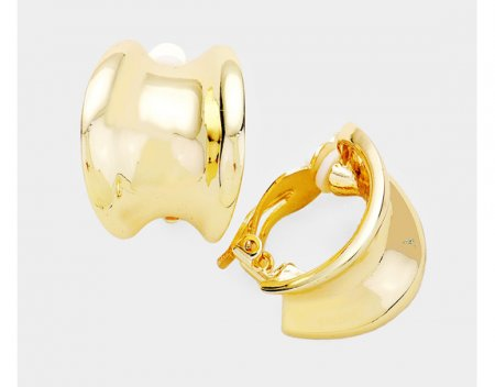 Large Concave Half Hoop Gold Clip On Earrings