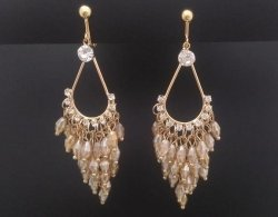Clip On Earrings Chandelier, Gold with CZ & Champagne Crystals