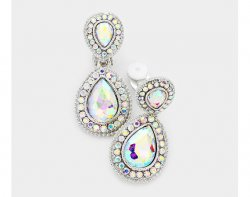 Mystic Rainbow Crystal Clip On Earrings with Clear Crystals