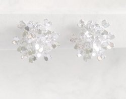 Silver Clip On Earrings, Fashion Earrings with Diamante Crystals