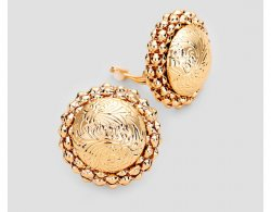 Large Gold Clip On Button Earrings Textured Finish 30mm
