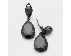 Black Dangle Crystal Clip On Earrings 2 Tier