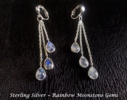 Sterling Silver Long Drop Clip On Earrings with Moonstone Gems