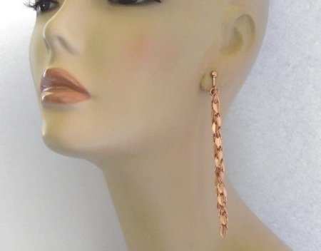 Long Drop Rose Gold Fashion Clip On Earrings