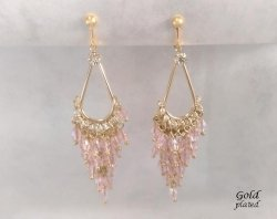 Clip On Chandelier Earrings, Gold with Pink Crystals, Bridal