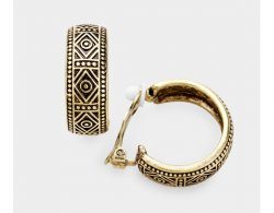 Antique Patterned Gold Half Hoop Clip On Earrings | Dazzlers