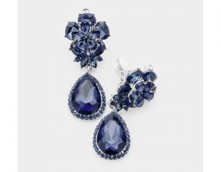Clip On Crystal Earrings Royal Blue Crystals, Flower Ear Clip