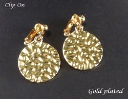 Fashion Clip On Earrings, Gold Hammered Finish Discs