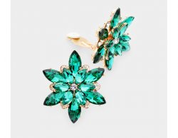 Flower Design Crystal Clip On Earrings, Green and Clear