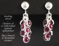 Dazzlers Clip On Earrings, Garnet Gemstones, Sterling Silver