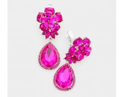 Dangle Crystal Clip On Earrings in Fabulous Fuchsia Color