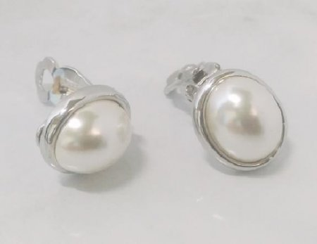 Pearl Clip On Earrings, Silver, Faux Pearls, Classic by Dazzlers
