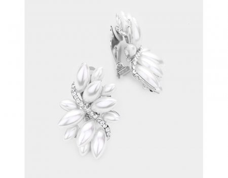 Impressive Pearl Clip On Earrings in a Marquise Style Cluster