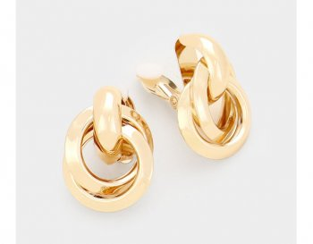 Gold Clip On Earrings, Modern Design, Interlinking Circles